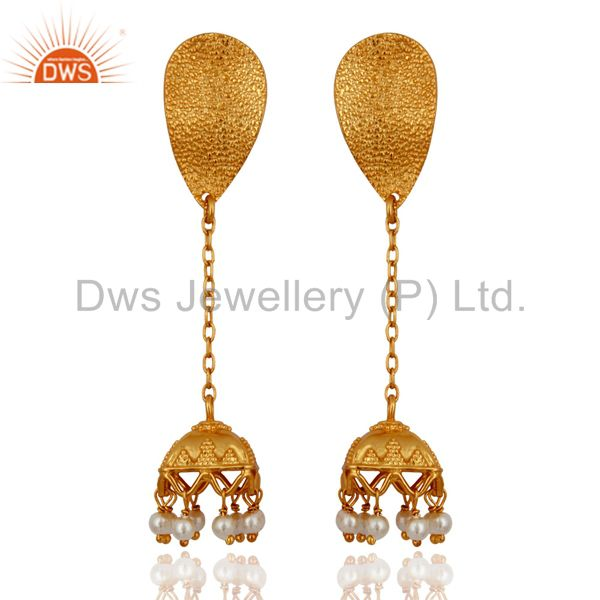 Indian Gold Plated Silver Womens Traditional Earrings Jewelry