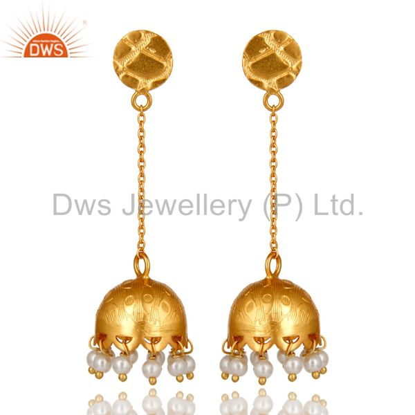 Natural Pearl Sterling Silver 925 18k Gold Plated Indian Earring For Women