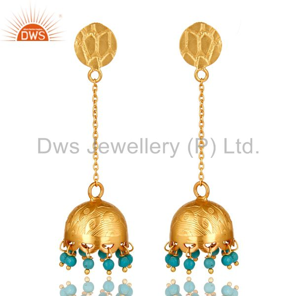 Turquoise Gemstone 18 K Gold Over 925 Sterling Silver Fashion Dangle Earrings