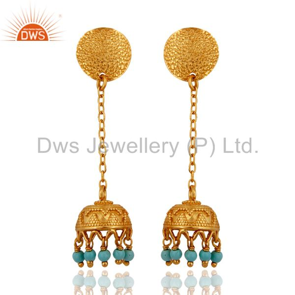 18K Gold Plated Sterling Silver 925 Natural Turquoise Gemstone Dangle Earring