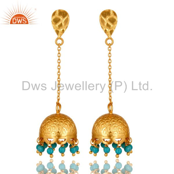 18 k Gold Plated 925 Sterling Silver Gemstone Turquoise Chandelier Earring