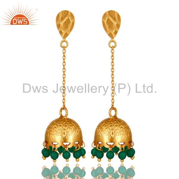Green Onyx Sterling Silver 22k Gold Plated Indian Traditional Design Earrings