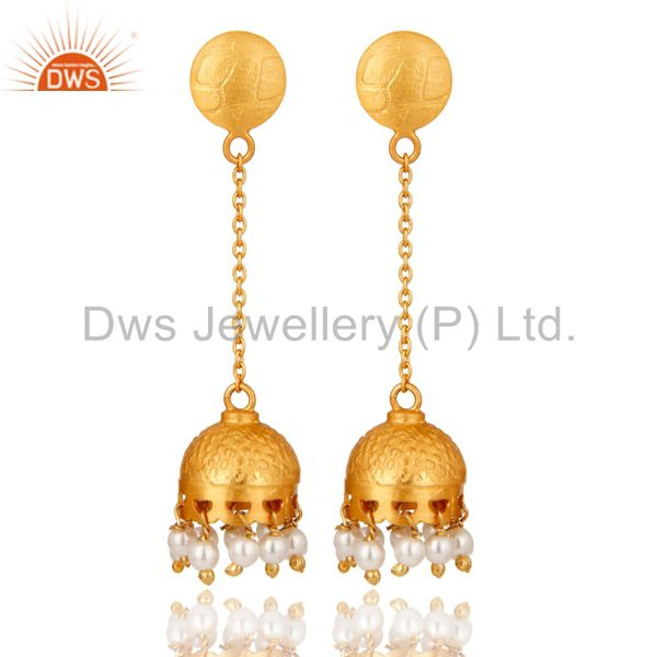 Indian Traditional Style 18k Gold Plated Sterling Silver Pearl Dangle Earrings