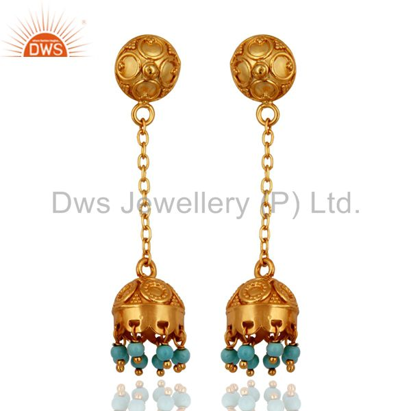 Excellent Quality 18k Gold Over Sterling Silver Turquoise Indian Style Earrings