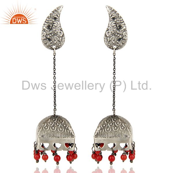 Black Oxidized 925 Sterling Silver Handmade Red Coral Jhumka Earrings Jewerly