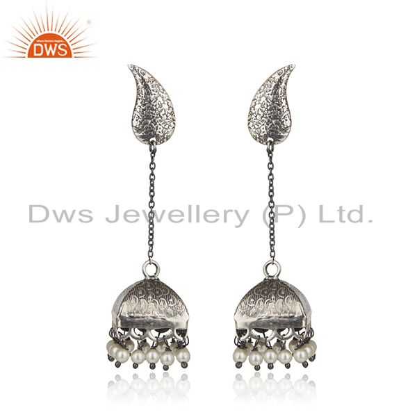 Black Oxidized 925 Sterling Silver Pearl Beads Gemstone Jumka Earrings Jewelry