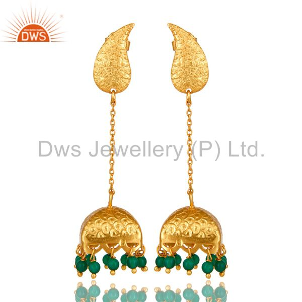 18k Gold Plated Indian Ethnic Sterling Silver Onyx Traditional Bridal Earrings