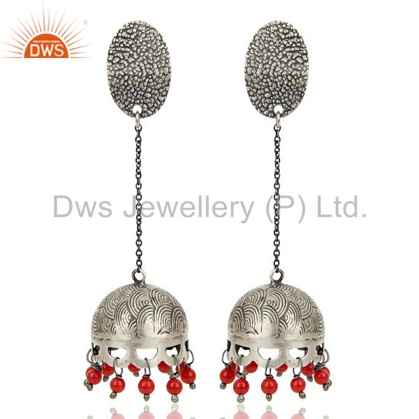 Black Oxidized 925 Sterling Silver Traditional Red Coral Gemstone Jhumka Earring