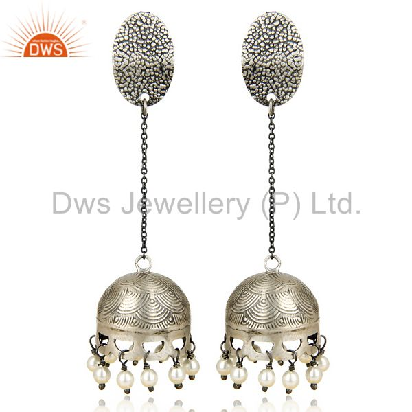 Black Oxidized 925 Sterling Silver Traditional Pearl Gemstone Jhumka Earrings