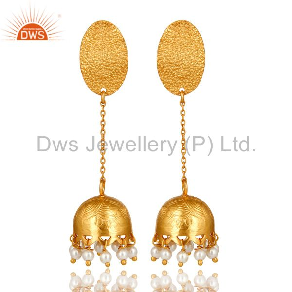 24k Gold Plated 925 Sterling Silver Traditional Pearl Gemstone Jhumka Earrings