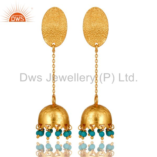 Natural Turquoise Gemstone 18K Gold Plated 925 Sterling Silver Designer Earrings