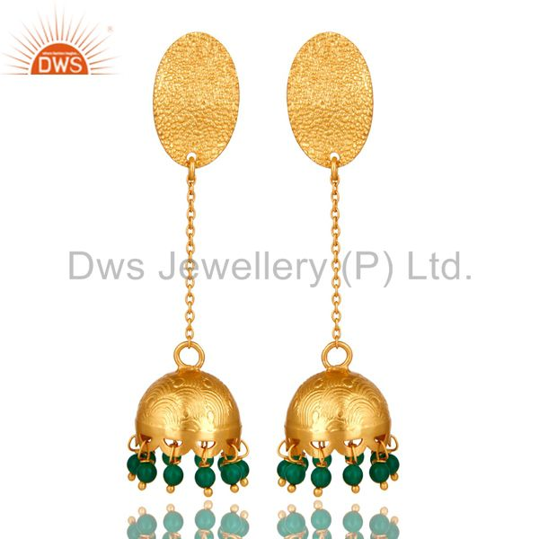 Emerald Green Onyx 925 Sterling Silver Yellow Gold Plated Handmade Art Earrings