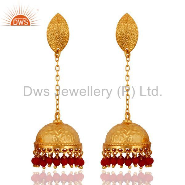 New Beautiful Indian Bollywood Style Sterling Silver Red Coral Gemstone Earrings