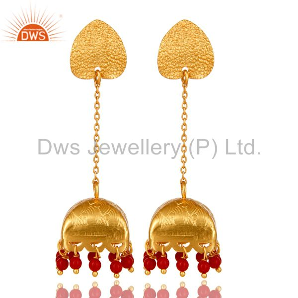 18K Gold Plated 925 Sterling Silver Red Coral Traditional Fashion Jhumka Earring