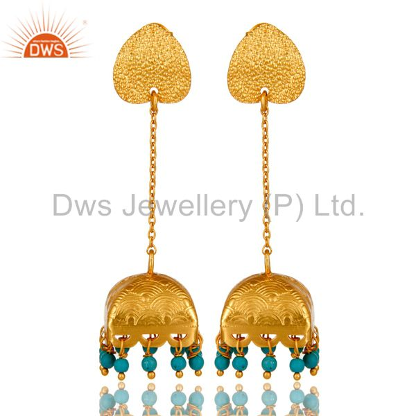 18K Gold Plated Natural Turquoise Gemstone 925 Sterling Silver Chunky Earring