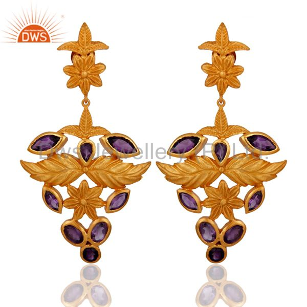 925 Sterling Silver Amethyst Gemstone Leaf Designer Earrings  - Gold Plated