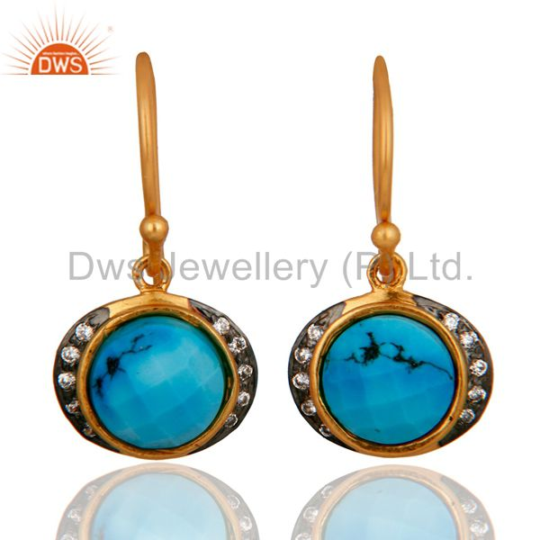 22K Yellow Gold Plated Silver Turquoise And CZ Womens Fashion Dangle Earrings