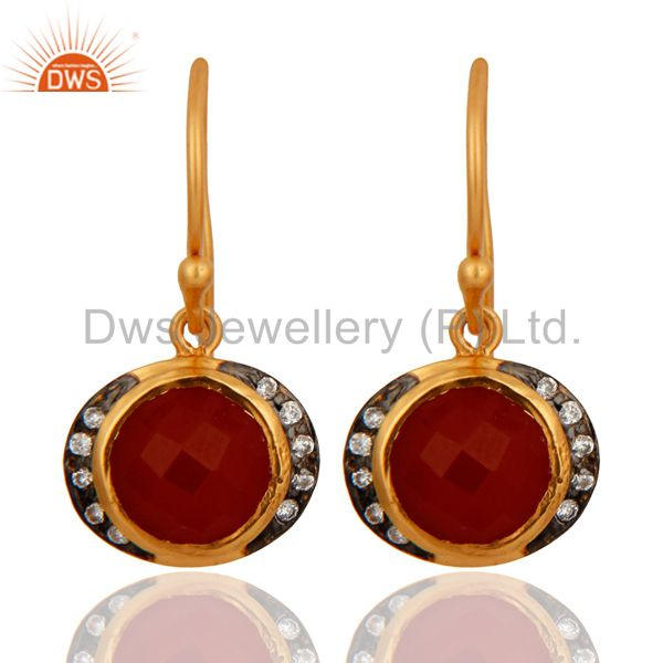 18K Yellow Gold Plated Sterling Silver Red Onyx Gemstone Drop Earrings With CZ