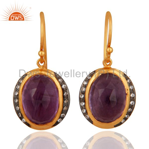 925 Sterling Silver Natural Amethyst Gemstone Dangle Earring With Gold Plated