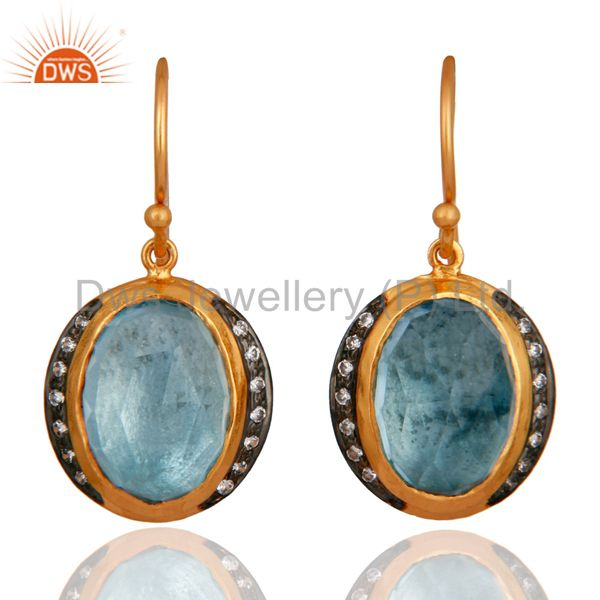Natural Blue Topaz And CZ Sterling Silver With Gold Plated Dangle Earrings