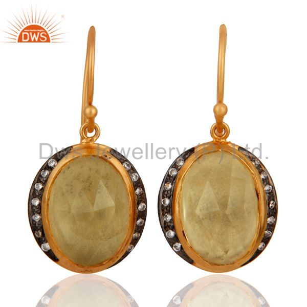 Natural Citrine Gemstone Gold Plated Sterling Silver Drop Earrings With CZ