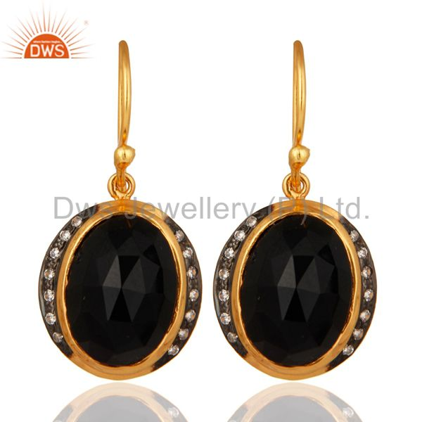 Faceted Black Onyx Gemstone Earrings Made In 18K Yellow Gold On Sterling Silver