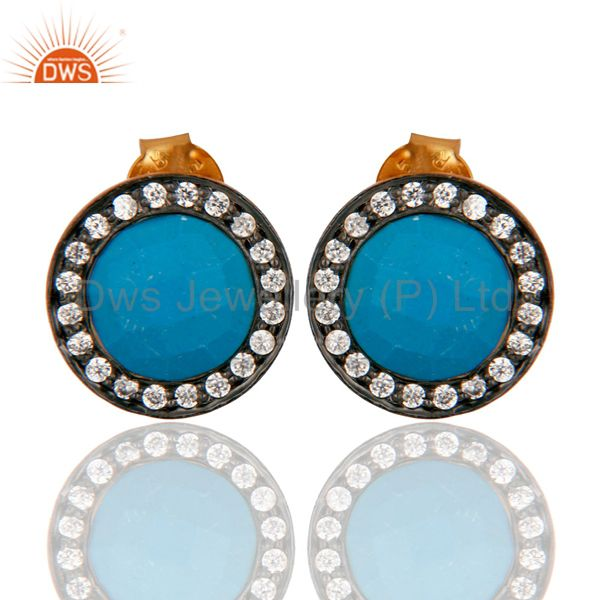 Turquoise & Cubic Zirconia Fashion Stud Earrings In 18K Gold On Sterling Silver