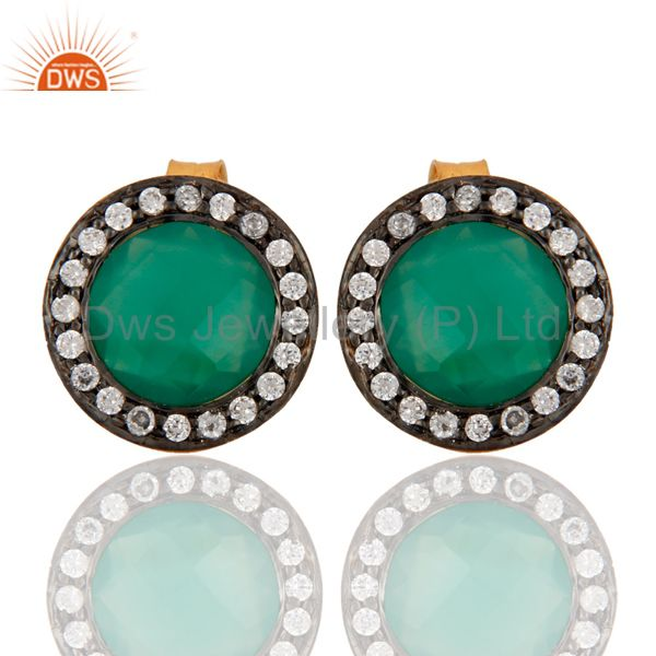 18K Yellow Gold Plated Sterling Silver Green Onyx Gemstone Stud Earrings With CZ
