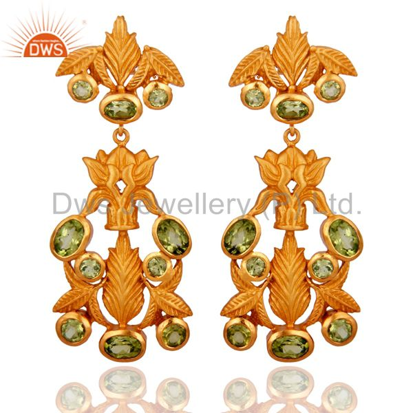 18K Yellow Gold Plated Sterling Silver Peridot Gemstone Designer Earrings