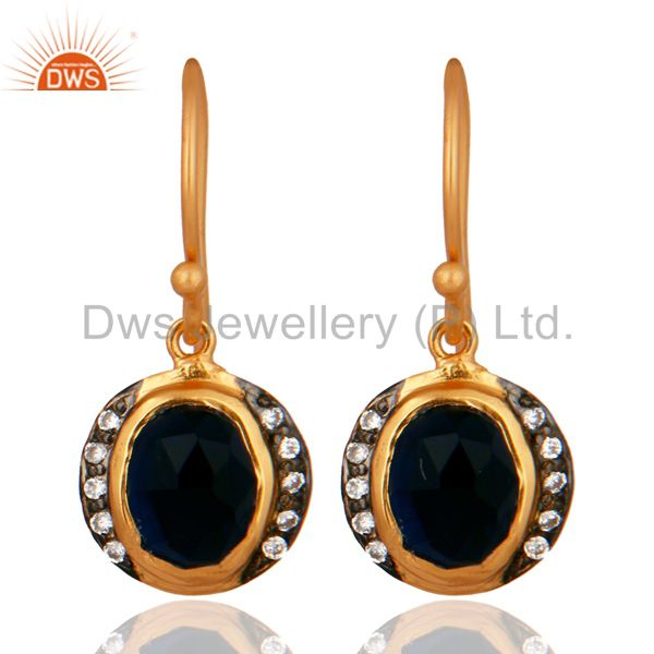 18K Yellow Gold Plated Sterling Silver Blue Corundum And CZ Hook Earrings