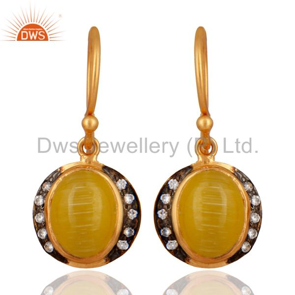 18-Karat Yellow Gold Plated 925 Sterling Silver Moonstone Gemstone Drop Earring