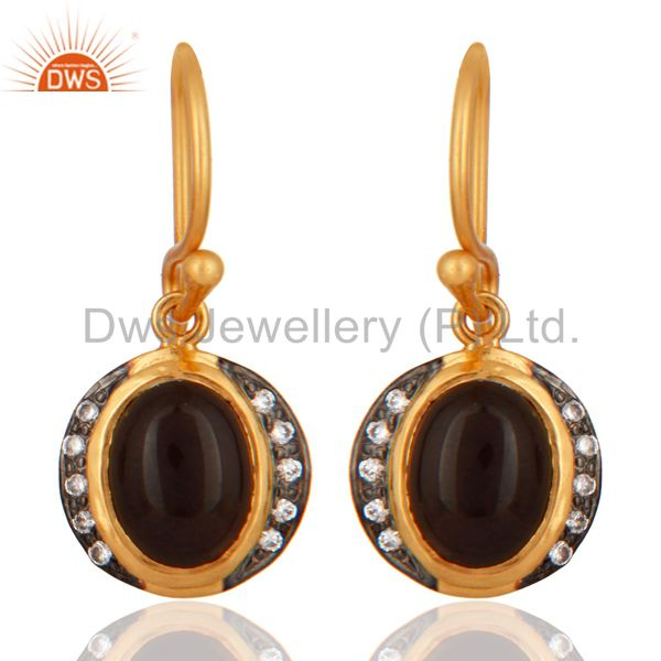 18ct Gold Plated Plated on Sterling Silver With Smoky Quartz Gemstone Earrings