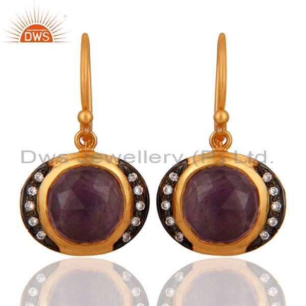 Handmade Natural Amethyst Gemstone 925 Sterling Silver Gold Plated Earrings