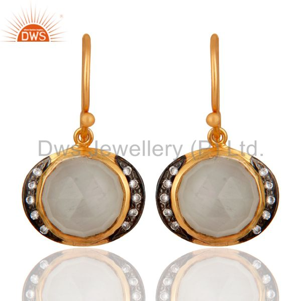 Handmade Natural Moonstone 18K Yellow Gold Over 925 Sterling Silver Hook Earring