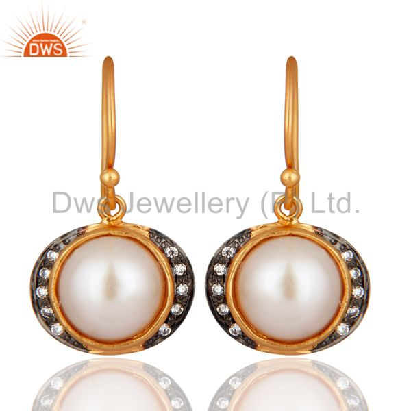 Natural Pearl Zircon 18K Gold Plated 925 Sterling Silver Earrings Jewelry