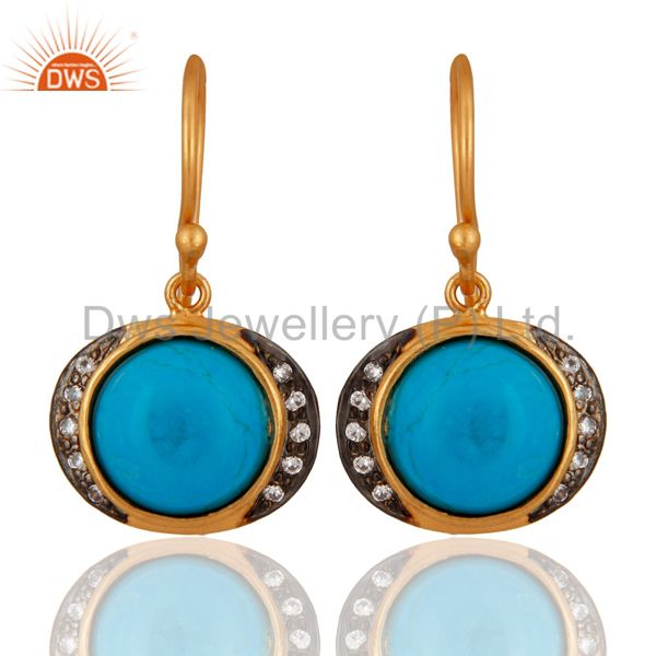 Handmade 925 Sterling Silver Turquoise Earring With 18K Gold Plated Jewellery