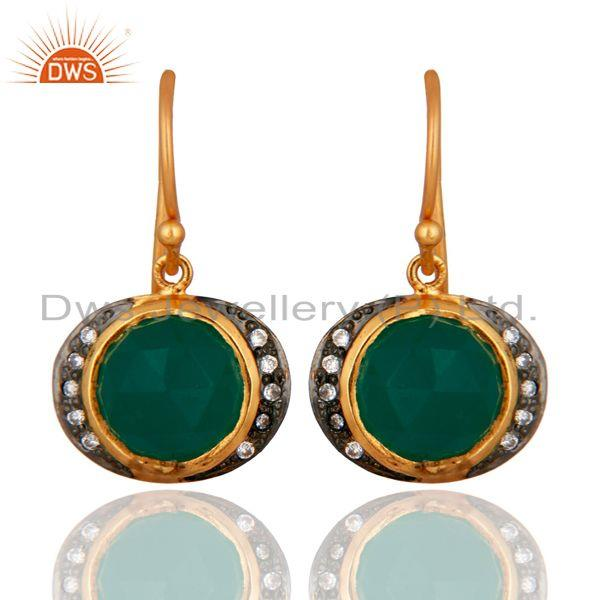 18K Yellow Gold Plated Sterling Silver Green Onyx And CZ Dangle Earrings