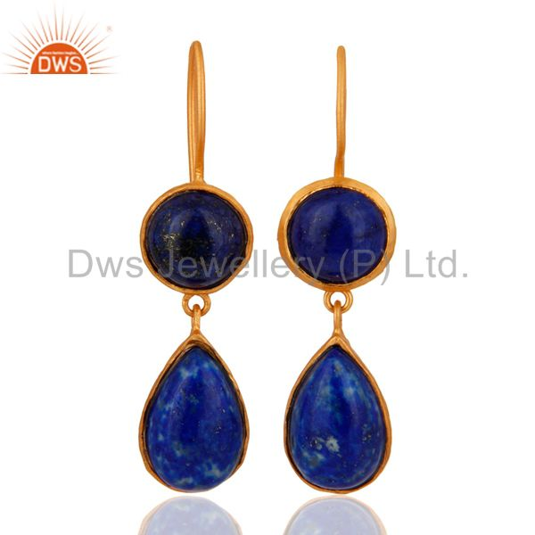 Handmade Lapis Lazuli GGemstone 925 Sterling Silver 18K Gold Plated Drop Earring