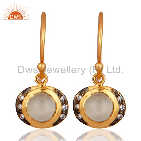 Handmade Moonstone Gemstone Earring With CZ 18K Gold over 925 Sterling Silver