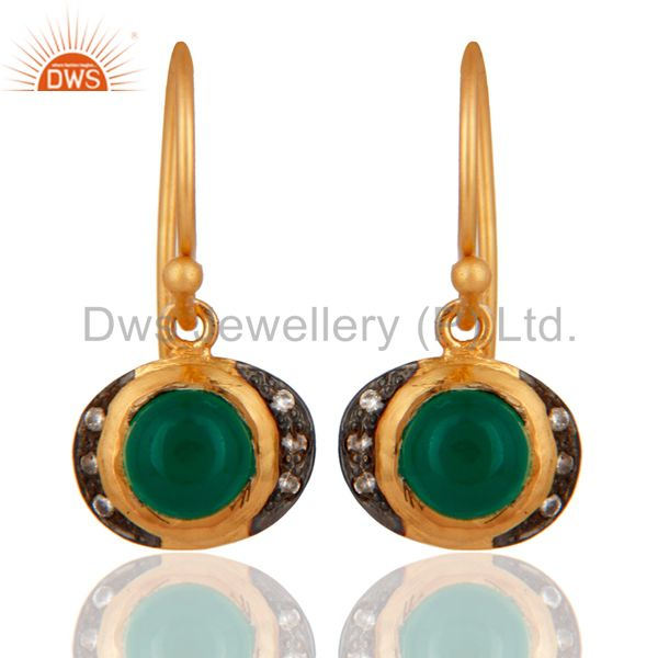 22K Yellow Gold Plated Silver Green Onyx And CZ Womens Fashion Dangle Earrings