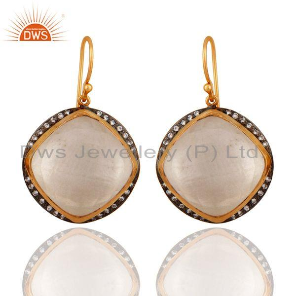 Gold Plated 925 Sterling Silver Crystal Quartz Faceted Cushion Drop Earrings