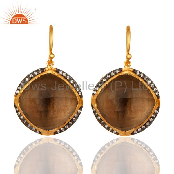 Natural Smoky Quartz Gemstone Sterling Silver Drop Earrings With 18K Gold Plated