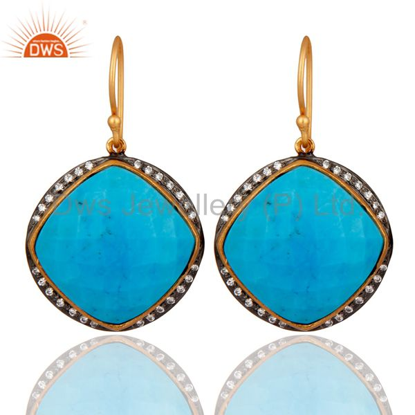 925 Sterling Silver Turquoise Gemstone Earring With White Zircon Plated Jewelry