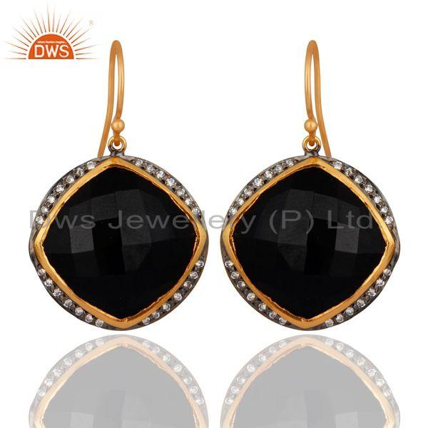 Handmade Black Onyx Gemstone Earring Made In 24k Gold Over 925 Sterling Silver