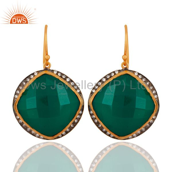 Designer 925 Sterling Silver Green Onyx Handmade Gold Plated Dangle Earrings
