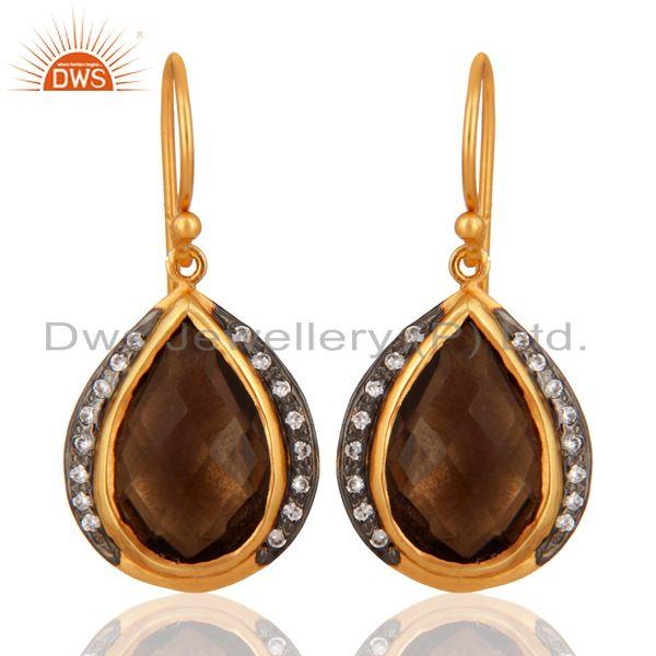 Natural Smoky Quartz Drop Earring Made in 18K Gold Over Sterling Silver Jewelry