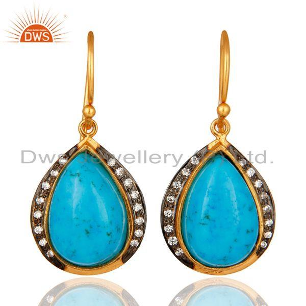 18K Yellow Gold Plated 925 Sterling Silver Turquoise Gemstone Teardrop Earrings