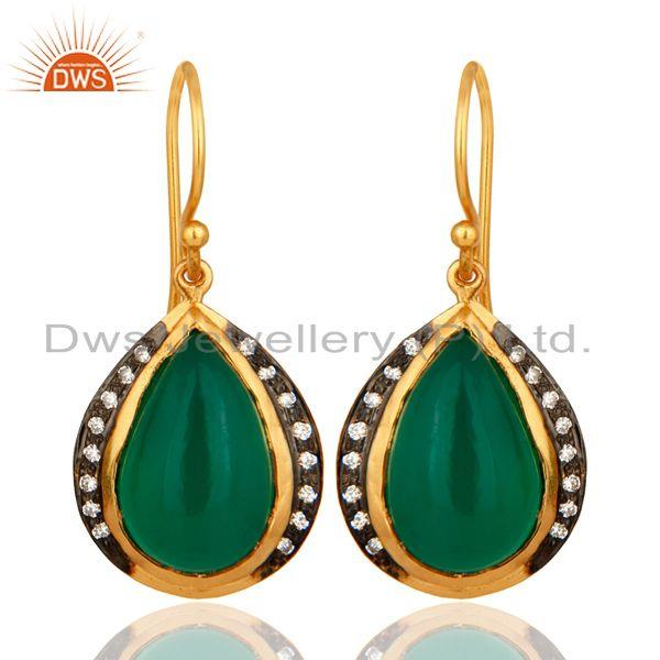 Natural Green Onyx High Finish Yellow Gold Plated Sterling Silver Drop Earrings