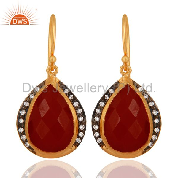 Natural Red Onyx & White Zircon 925 Sterling Silver 18K Gold Plated Drop Earring