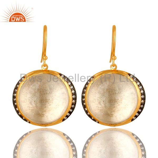 18K Yellow Gold Plated Sterling Silver Crystal Quartz Dangle Earrings For Womens